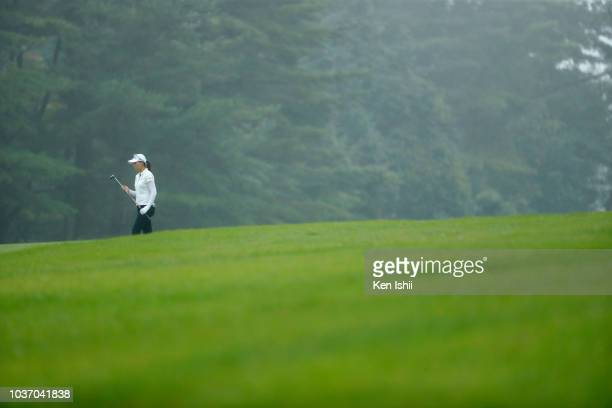 Miki Uehara of Japan walks on the 18th hole during the final round of the Chugoku Shimbun Chupi Ladies at Geinan Country Club on September 21, 2018...