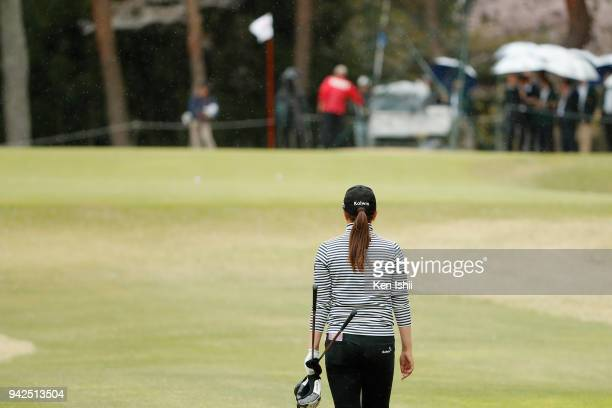 Miki Uehara of Japan walks up the 18th hole during the final round of the Hanasaka Ladies Yanmar Golf Tournament at Biwako Country Club on April 6...