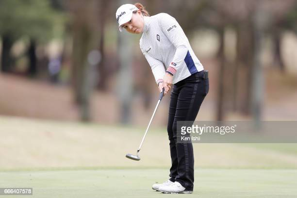 Miki Uehara putts on the 9th green during the final round of the Hanasaka Ladies Yanmar Golf Tournament at the Biwako Country Club on April 9 2017 in...