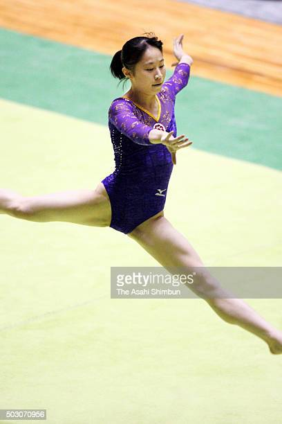 Miki Uemmura competes in the Floor of the Women's AllAround final during day two of the 60th All Japan Artistic Gymnastics Championships at Yoyogi...