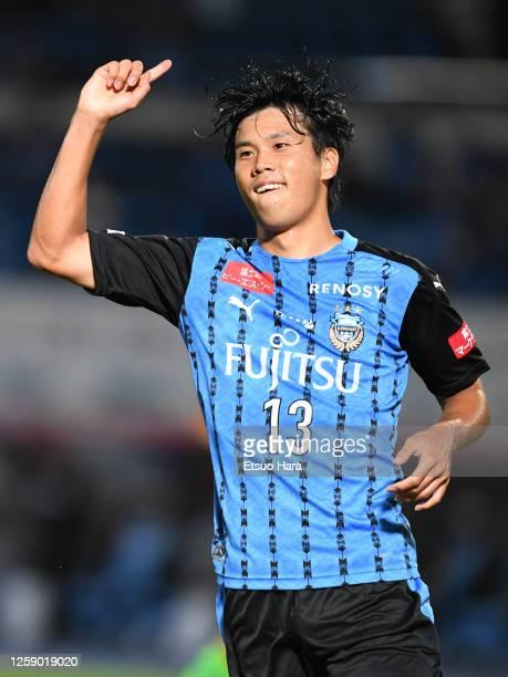 Miki Yamane of Kawasaki Frontale celebrates scoring his side's first goal during the J.League Meiji Yasuda J1 match between Kawasaki Frontale and...