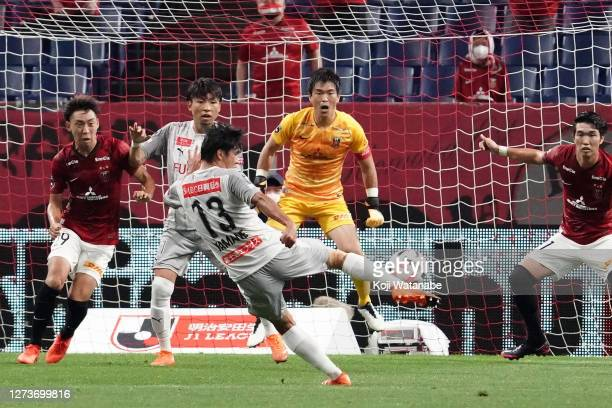 Miki Yamane of Kawasaki Frontale scoring his team's first goal during the J.League Meiji Yasuda J1 match between Urawa Red Diamonds and Kawasaki...