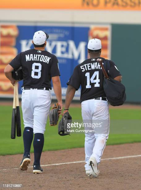 Mikie Mahtook and Christin Stewart of the Detroit Tigers walk off the field together during the Spring Training game against the New York Yankees at...