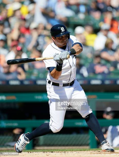 Mikie Mahtook of the Detroit Tigers bats against the Texas Rangers at Comerica Park on July 7 2018 in Detroit Michigan