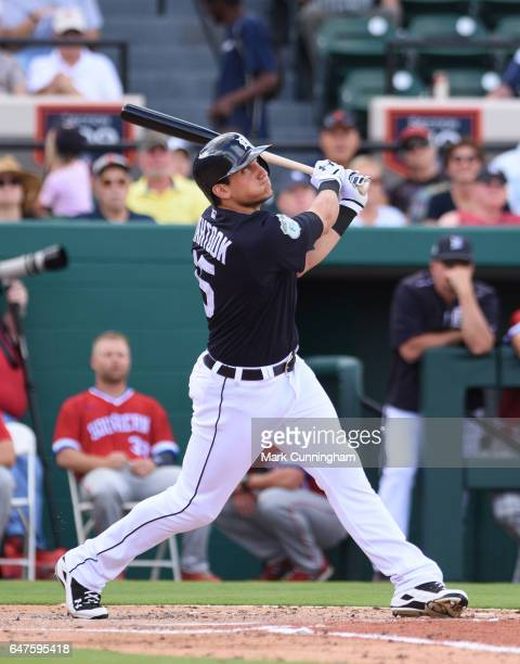 Mikie Mahtook of the Detroit Tigers bats during the Spring Training game against the Florida Southern Mocs at Publix Field at Joker Marchant Stadium...