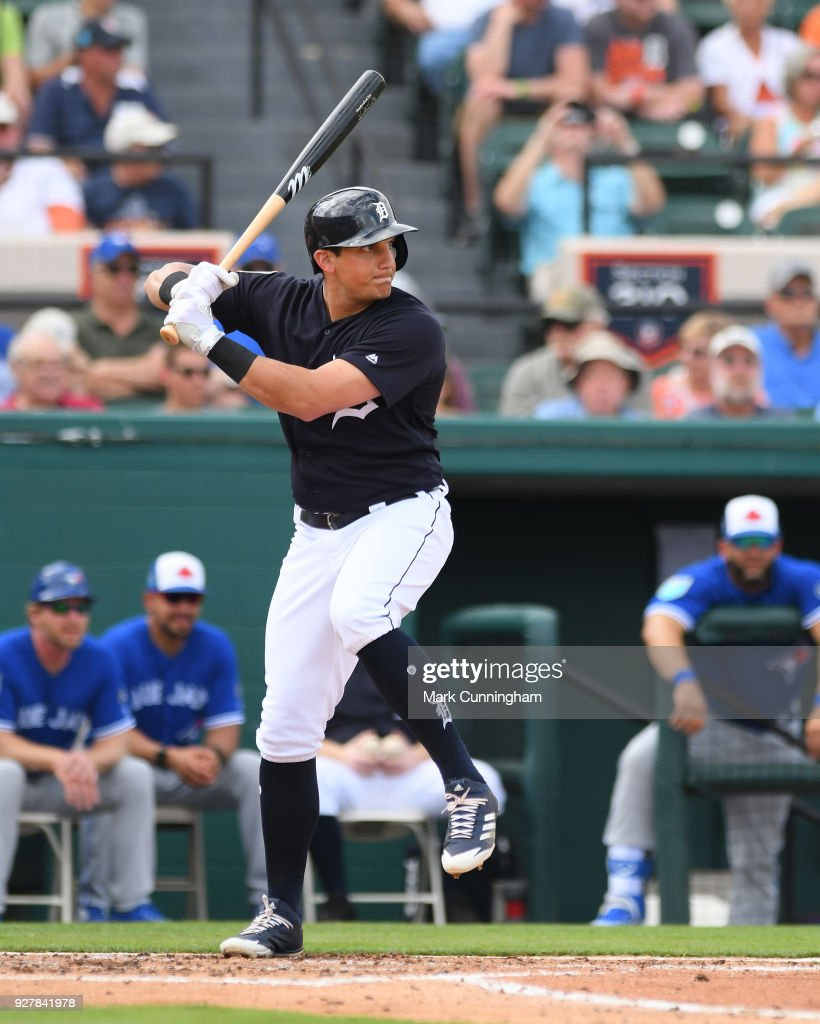 Mikie Mahtook #8 of the Detroit Tigers bats during the Spring Training game against the Toronto Blue Jays at Publix Field at Joker Marchant Stadium on February 24, 2018 in Lakeland, Florida. The Tigers defeated the Blue Jays 5-4.