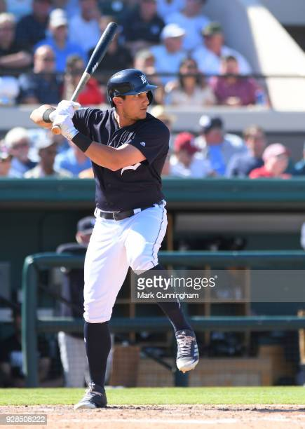 Mikie Mahtook of the Detroit Tigers bats during the Spring Training game against the New York Yankees at Publix Field at Joker Marchant Stadium on...