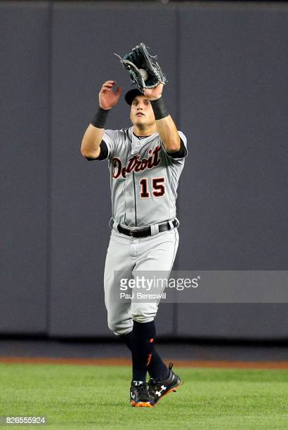 Mikie Mahtook of the Detroit Tigers catches a fly ball in an MLB baseball game against the New York Yankees on July 31 2017 at Yankee Stadium in the...