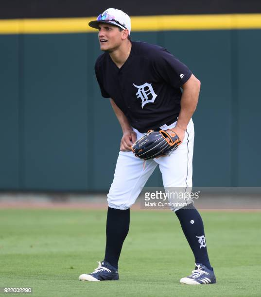 Mikie Mahtook of the Detroit Tigers fields during Spring Training workouts at Publix Field at Joker Marchant Stadium on February 20 2018 in Lakeland...