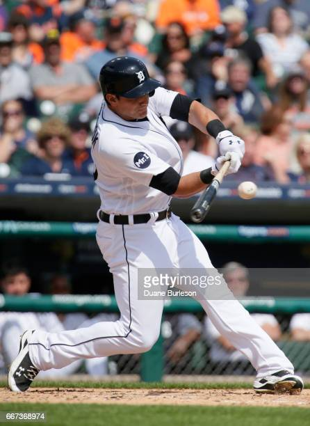 Mikie Mahtook of the Detroit Tigers flies out against the Minnesota Twins during the fifth inning at Comerica Park on April 11 2017 in Detroit...