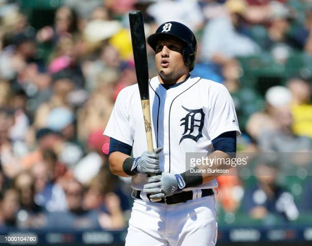 Mikie Mahtook of the Detroit Tigers gets ready to bat against the Texas Rangers at Comerica Park on July 7 2018 in Detroit Michigan