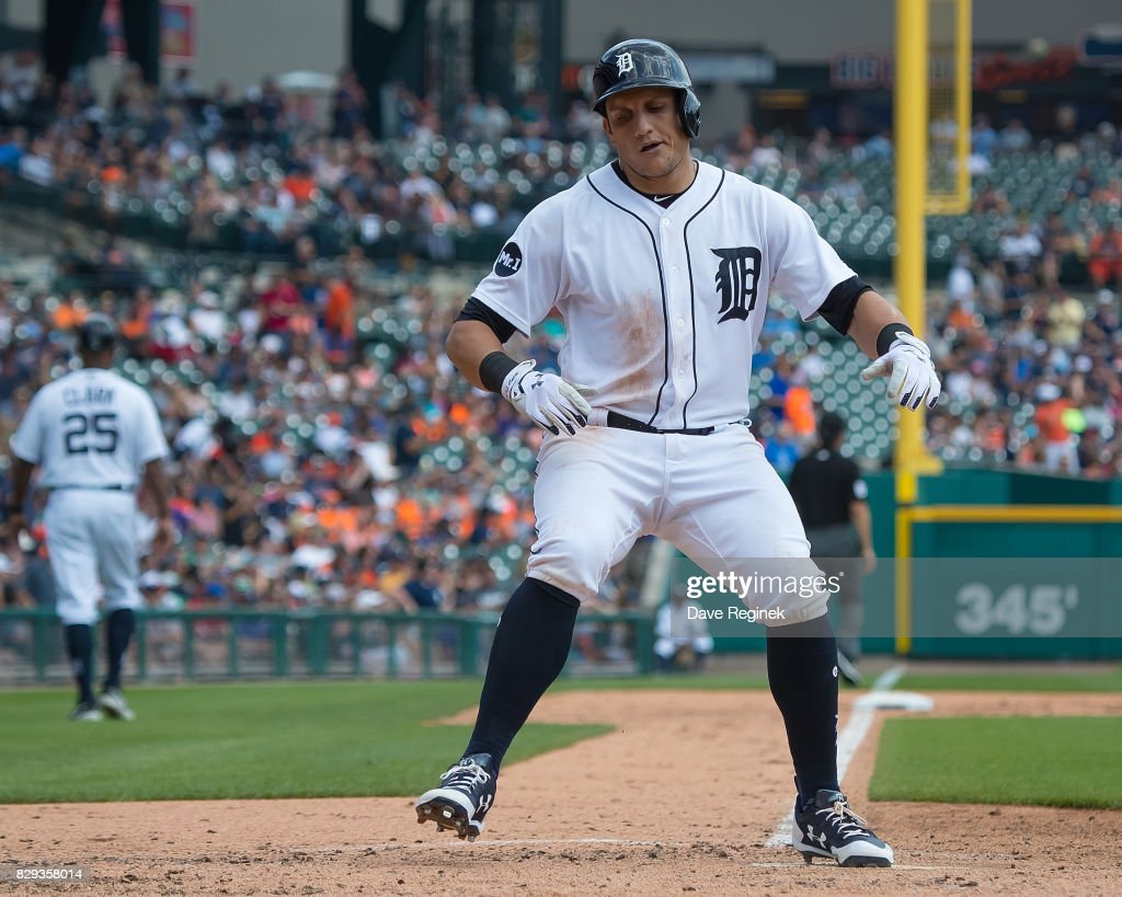 Mikie Mahtook #15 of the Detroit Tigers hits a solo home run in the third inning against the Pittsburgh Pirates during a MLB game at Comerica Park on August 10, 2017 in Detroit, Michigan.