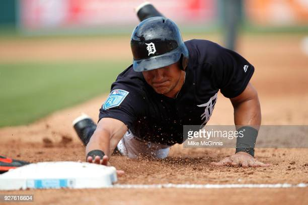 Mikie Mahtook of the Detroit Tigers in action during the Spring Training game against the Miami Marlins at Joker Marchant Stadium on March 02 2018 in...