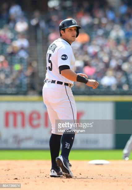 Mikie Mahtook of the Detroit Tigers looks on during game one of a double header against the Cleveland Indians at Comerica Park on September 1 2017 in...