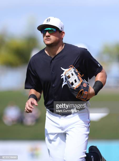 Mikie Mahtook of the Detroit Tigers looks on during the Spring Training game against the Florida Southern Mocs at Publix Field at Joker Marchant...