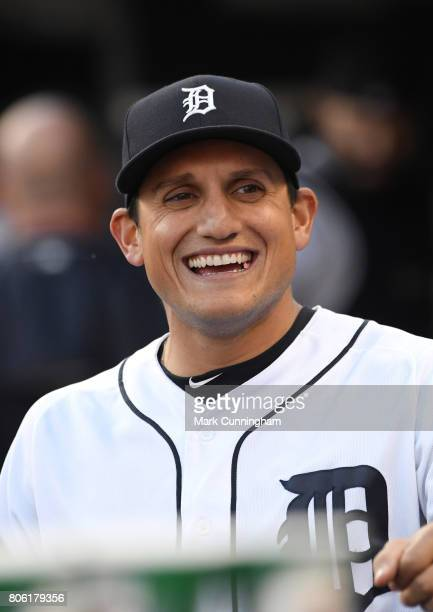 Mikie Mahtook of the Detroit Tigers looks on from the dugout during the game against the Los Angeles Angels of Anaheim at Comerica Park on June 7...