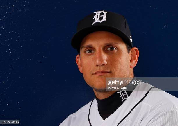 Mikie Mahtook of the Detroit Tigers poses for a photo during photo days on February 20 2018 in Lakeland Florida