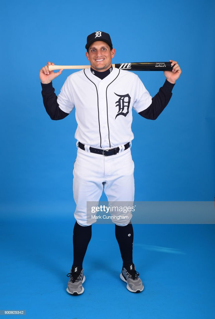 Mikie Mahtook #8 of the Detroit Tigers poses for a photo during photo day on February 20, 2018 in Lakeland, Florida.