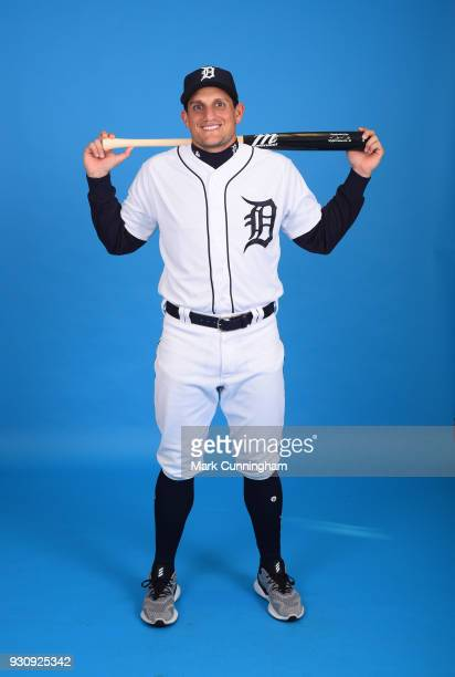 Mikie Mahtook of the Detroit Tigers poses for a photo during photo day on February 20 2018 in Lakeland Florida