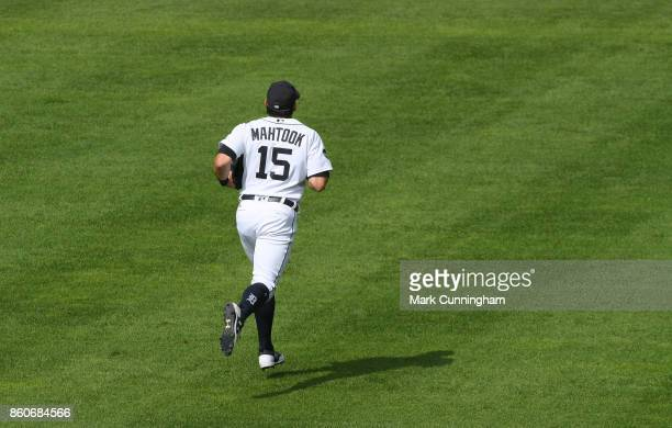 Mikie Mahtook of the Detroit Tigers runs across the field during the game against the Oakland Athletics at Comerica Park on September 20 2017 in...