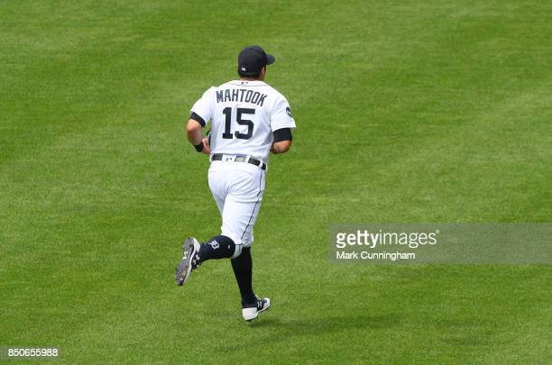 Mikie Mahtook of the Detroit Tigers runs across the outfield during the game against the Minnesota Twins at Comerica Park on August 13 2017 in...