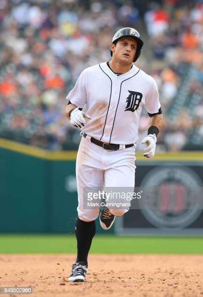 Mikie Mahtook of the Detroit Tigers runs the bases during the game against the Pittsburgh Pirates at Comerica Park on August 10 2017 in Detroit...
