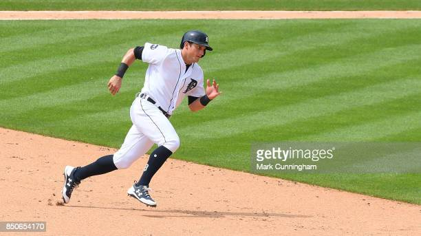 Mikie Mahtook of the Detroit Tigers runs the bases during the game against the Minnesota Twins at Comerica Park on August 13 2017 in Detroit Michigan...