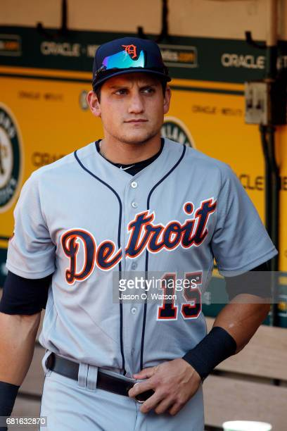 Mikie Mahtook of the Detroit Tigers stands in the dugout before the game against the Oakland Athletics at the Oakland Coliseum on May 6 2017 in...