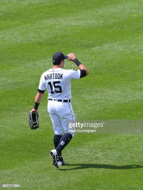 Mikie Mahtook of the Detroit Tigers stands in the outfield during the game against the Minnesota Twins at Comerica Park on August 13 2017 in Detroit...
