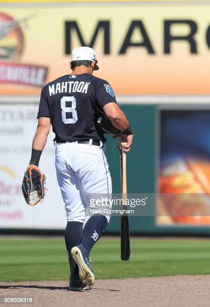 Mikie Mahtook of the Detroit Tigers walks off the field during the Spring Training game against the New York Yankees at Publix Field at Joker...