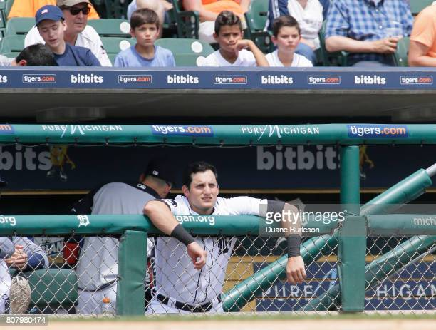 Mikie Mahtook of the Detroit Tigers watches from the dugout during a game against the Kansas City Royals at Comerica Park on June 29 2017 in Detroit...