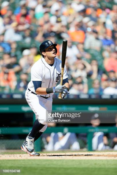 Mikie Mahtook of the Detroit Tigers watches his fly ball against the Texas Rangers at Comerica Park on July 7 2018 in Detroit Michigan
