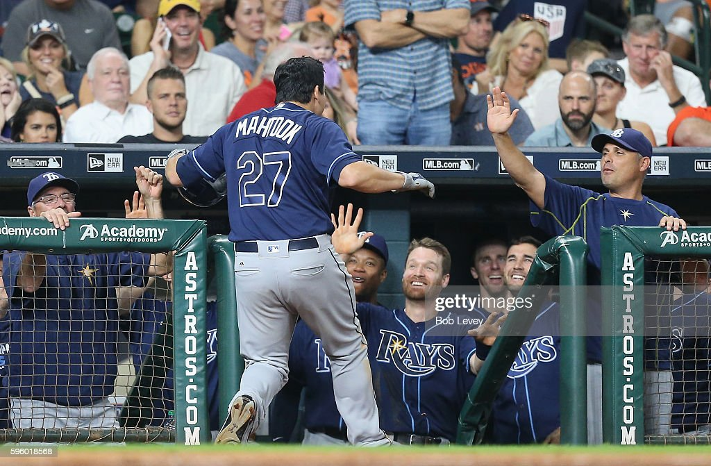 Mikie Mahtook #27 of the Tampa Bay Rays hits a home run in the ninth inning against the Houston Astros at Minute Maid Park on August 26, 2016 in Houston, Texas.