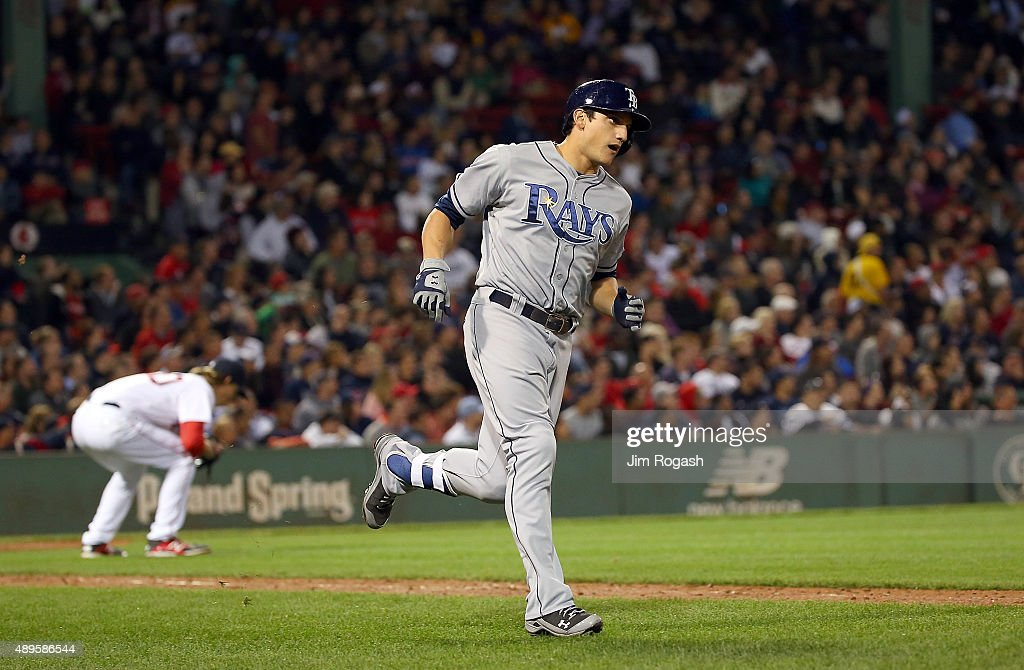Mikie Mahtook #27 of the Tampa Bay Rays rounds the bases on a home run against Henry Owens #60 of the Boston Red Sox in the eighth inning at Fenway Park on September 22, 2015 in Boston, Massachusetts.