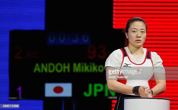 Mikiko Andoh of Japan competes in the women's 58kg weight class during the 2015 International Weightlifting Federation World Championships at the...