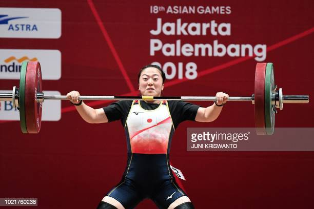 Mikiko Andoh of Japan competes in the women's 58kg weightlifting event during the 2018 Asian Games in Jakarta on August 23 2018
