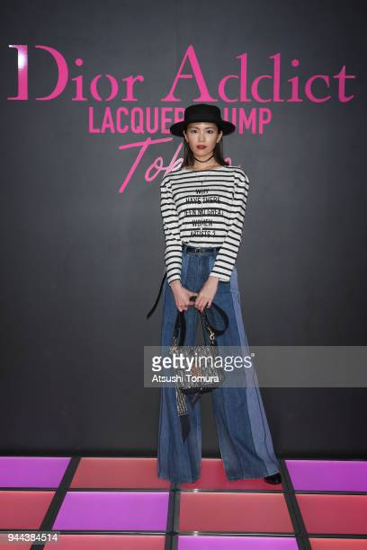 Mikiko Yano attends the Dior Addict Lacquer Plump Party at 1 OAK on April 10 2018 in Tokyo Japan
