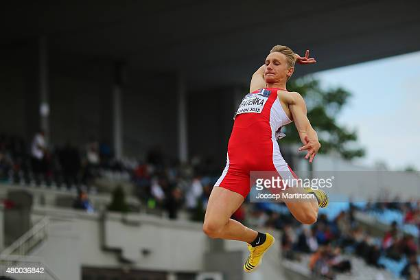 Mikita Lapatenka of Belarus competes in the Men's Long Jump qualification during day one of the European Athletics U23 Championships at Kadriorg...