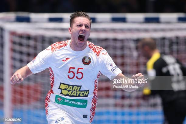 Mikita Vailupau of Belarus during the Men's EHF EURO 2020 group A match between Croatia and Belarus at Stadthalle on January 11, 2020 in Graz,...