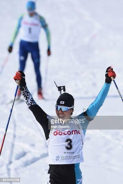 Mikito Tachizaki of Japan celebrates winning the men's biathlon 12.5 km pursuit on day seven of the 2017 Sapporo Asian Winter Games at Nishioka...