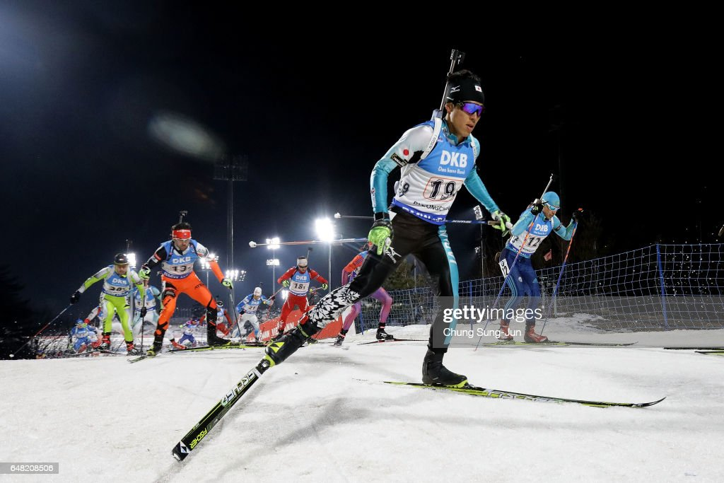 Mikito Tachizaki of Japan competes in the Men's 4x7.5km Relay during the BMW IBU World Cup Biathlon 2017 - test event for PyeongChang 2018 Winter Olympic Games at Alpensia Biathlon Centre on March 5, 2017 in Pyeongchang-gun, South Korea.