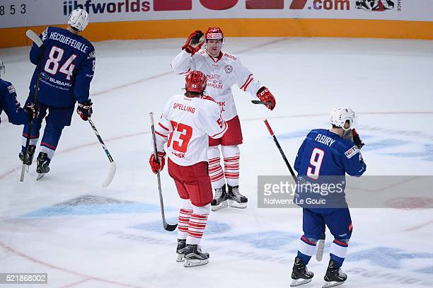 Mikkel Aagaard of Denmark celebrates his goal during the International Friendly Match between France and Denmark at AccorHotels Arena on April 17...