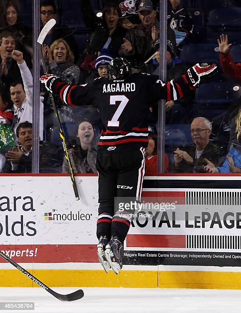 Mikkel Aagaard of the Niagara IceDogs celebrates a goal during an OHL game against the Barrie Colts at the Meridian Centre on March 5 2015 in St...