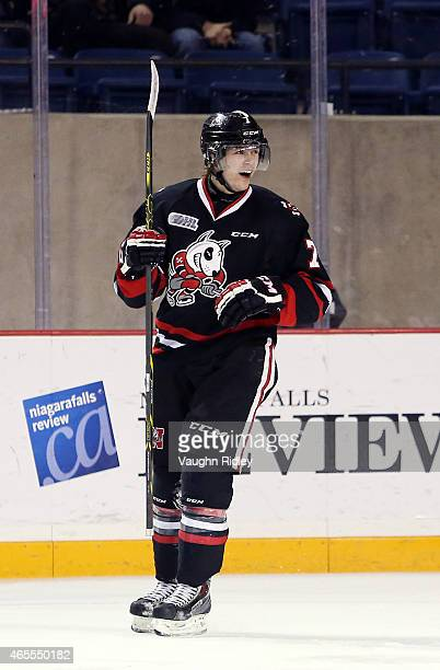 Mikkel Aagaard of the Niagara IceDogs celebrates a goal during an OHL game against the Ottawa 67's at the Meridian Centre on March 7 2015 in St...
