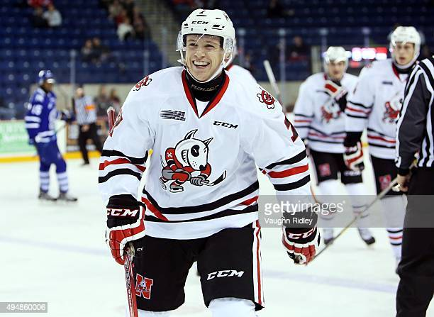 Mikkel Aagaard of the Niagara IceDogs celebrates a goal during an OHL game against the Mississauga Steelheads at the Meridian Centre on October 29...