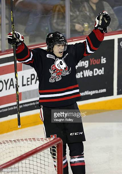 Mikkel Aagaard of the Niagara IceDogs celebrates his 3rd goal during an OHL game against the Ottawa 67's at the Meridian Centre on March 7 2015 in St...