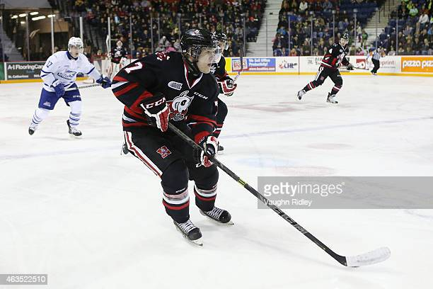 Mikkel Aagaard of the Niagara IceDogs skates during an OHL game against the Mississauga Steelheads at the Meridian Centre on February 12 2015 in St...