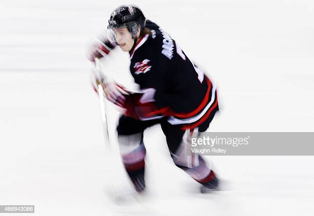Mikkel Aagaard of the Niagara IceDogs skates during an OHL game against the Barrie Colts at the Meridian Centre on March 19 2015 in St Catharines...