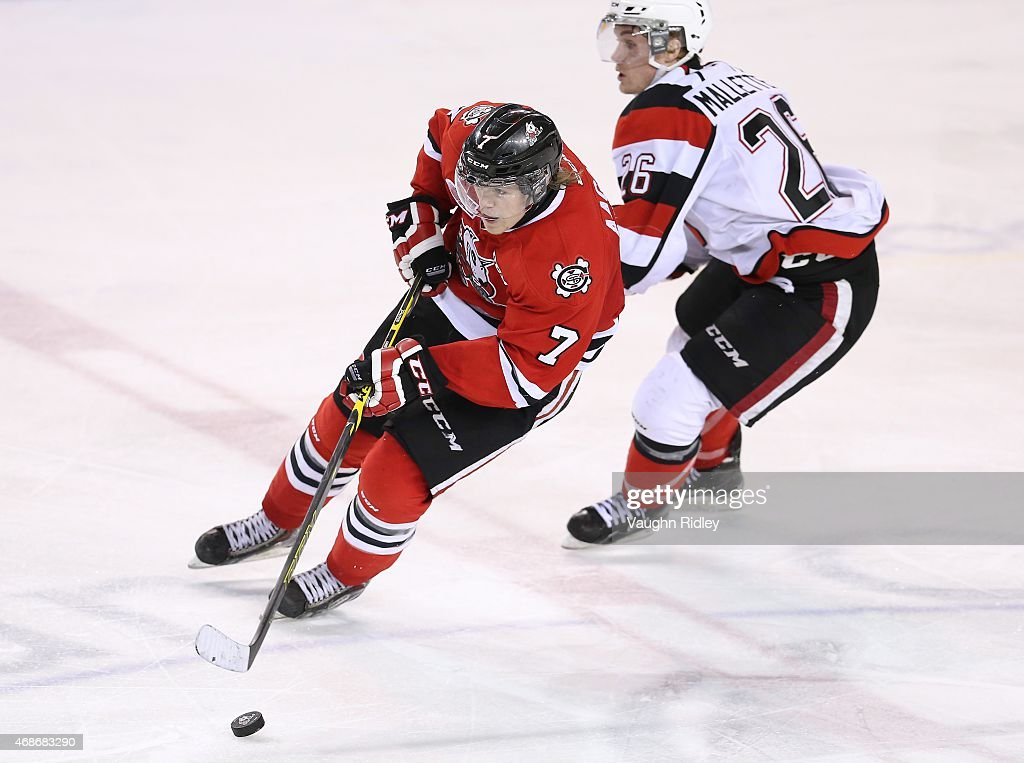 Mikkel Aagaard #7 of the Niagara IceDogs skates during Game 6 of the Eastern Conference Quarter-Finals against the Ottawa 67's at the Meridian Centre on April 5, 2015 in St Catharines, Ontario, Canada.
