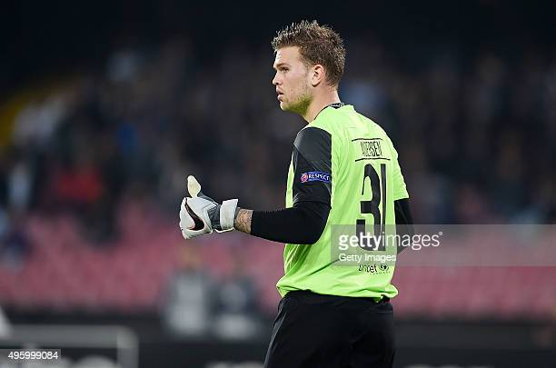Mikkel Andersen of FC Midtjylland in action during the UEFA Europa League Group D match between SSC Napoli and FC Midtjylland at Stadio San Paolo on...